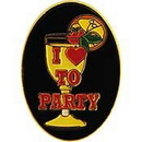 "Eagle Emblems PIN-FUN, I HEART TO PARTY  (1"")"
