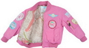 EDMO MA1-P-4/5 Ma1 Jacket/Pink With Patches, Kids Size 4-5