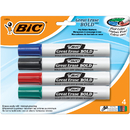 Bic USA BICDECP41AST Bic Great Erase Dry Erase Chisel Point Markers 4 Pack
