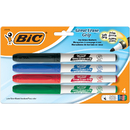 Bic USA BICGDEP41AST Bic Great Erase Dry Erase Fine Point Markers 4 Pack Low Odor
