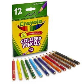 Crayola BIN4112 Colored Pencils 12Ct Half Length, Price/EA
