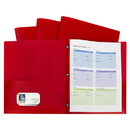 C-Line Products CLI32964 Red Two Pocket Poly Portfolios With Prongs Pack Of 10