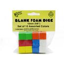 Koplow Games KOP17335 16Mm Foam Dice 12Pk Assorted Color Blank