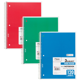 Mead Products MEA05746 Notebook Spiral 3 Subject 120 Ct 10 1/2 X 8, Price/EA