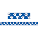 Teacher Created Resources TCR4620 Blue With White Paw Prints Straight Border Trim