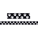 Teacher Created Resources TCR4642 Black With White Paw Prints Border Trim