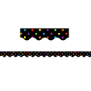 Teacher Created Resources TCR4648 Black/Multicolor Dots Scalloped Border Trim