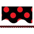 Teacher Created Resources TCR4677 Red Polka Dots On Black Border Trim