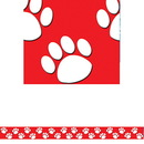 Teacher Created Resources TCR4797 Red With White Paw Prints Straight Border Trim