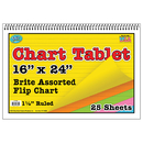 Top Notch Teacher Products TOP3840 Chart Tablets 16 X 24 Assorted 1/2 Ruled