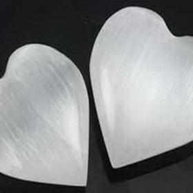 AzureGreen GHSELW White Selenite Heart