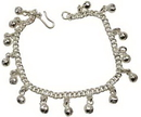 AzureGreen Silvertone Anklet With Bells