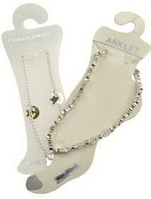 AzureGreen Silvertone Anklet With Stars & Moons