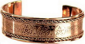 AzureGreen Pentagram Engraved Copper Bracelet
