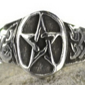 AzureGreen JRP31411 Pewter Pentagram Ring size 11