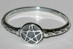 AzureGreen Tiny Pentagram Ring sz 6