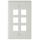 Generic 1800284 6 Hole Keystone Faceplate, White