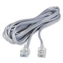 Ziotek 14ft. Telephone RJ11 (RJ12) 6P6C Modular Flat Cable, Silver ZT1800360