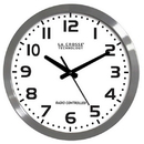 La Crosse Brushed Metal 16in. Analog Atomic Clock, White WT-3161WH
