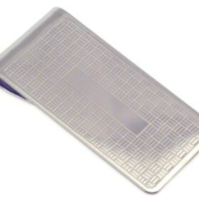 Engraved Gifts Direct 500464 S/P Basket-Weave Money Clip