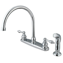 Elements of Design EB721ALSP Two Handle Goose Neck Kitchen Faucet with Non-Metallic Sprayer, Chrome