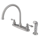 Elements of Design EB728ALSP Two Handle Goose Neck Kitchen Faucet with Non-Metallic Sprayer, Satin Nickel