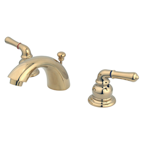 "Elements of Design EB952 Two Handle 4"" to 8"" Mini Widespread Lavatory Faucet with Retail Pop-up, Polished Brass"