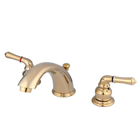 "Elements of Design EB962 Two Handle 4"" to 8"" Mini Widespread Lavatory Faucet with Retail Pop-up, Polished Brass"