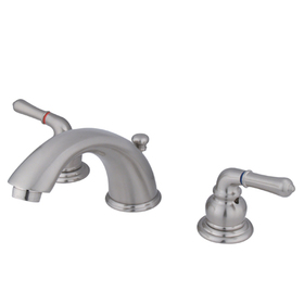 "Elements of Design EB968 Two Handle 4"" to 8"" Mini Widespread Lavatory Faucet with Retail Pop-up, Satin Nickel"