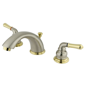 "Elements of Design EB969 Two Handle 4"" to 8"" Mini Widespread Lavatory Faucet with Retail Pop-up, Satin Nickel/Polished Brass"