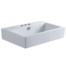 Kingston Brass EV4318W34 White China Vessel Bathroom Sink with Overflow Holes & 3 Faucet Holes, White