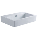 Kingston Brass EV4318 White China Vessel Bathroom Sink With Overflow Hole, White