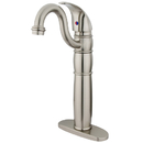 Kingston Brass KB1428LL Single Handle Vessel Sink Faucet with Optional Cover Plate, Satin Nickel