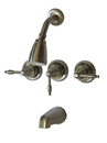 Kingston Brass KB238KL Three Handle Tub & Shower Faucet, Satin Nickel