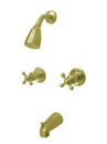 Kingston Brass KB242AX Two Handle Tub & Shower Faucet, Polished Brass