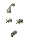 Kingston Brass KB248AX Two Handle Tub & Shower Faucet, Satin Nickel