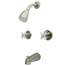 Kingston Brass KB248PX Two Handle Tub & Shower Faucet, Satin Nickel
