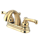 "Kingston Brass KB5612FL Two Handle 4"" Centerset Lavatory Faucet with Retail Pop-up, Polished Brass"