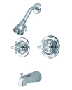 Kingston Brass KB661AX Two Handle Tub & Shower Faucet, Chrome