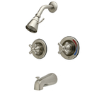 Kingston Brass KB668AX Two Handle Tub & Shower Faucet, Satin Nickel