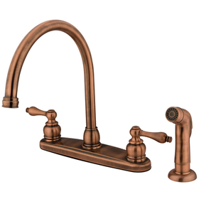 Kingston Brass KB726ALSP Double Handle Goose Neck Kitchen Faucet with Non-Metallic Sprayer, Antique Copper