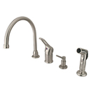 Kingston Brass KB818K8 Single Loop Handle Kitchen Faucet with Soap Dispenser and Side Sprayer, Satin Nickel