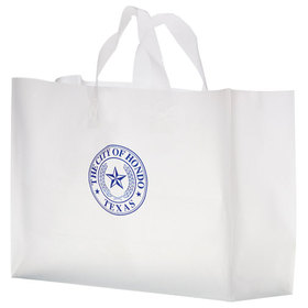 "American AD Bag 19FSC16612 16""W X 6""Gusset X 12""H Clear Frosted Shoppers - Blank, Price/each"
