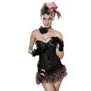 MUKA Womens Black Brocade Burlesque Renaissance Corset Bustier Top, Plus Size