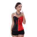 Muka Women Black Red Brocade Boned Fashion Corset Bustier Lingerie, Plus Size