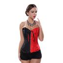 Muka Women Black Red Brocade Boned Fashion Corset Bustier Lingerie, Plus Size