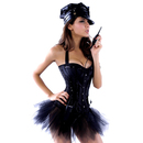 MUKA Women Black Halter Corset Sequins Bustier with Thong