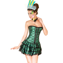 MUKA Women Burlesque Gothic Green Lace Boned Fashion Corset & Skirt Set