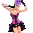 MUKA Burlesque Black & Purple Lace Fashion Corset and Skirt, Gift Idea