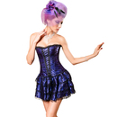 MUKA Burlesque Black Floral Lace-Up Gothic Corset & Skirt Set , Gift Idea